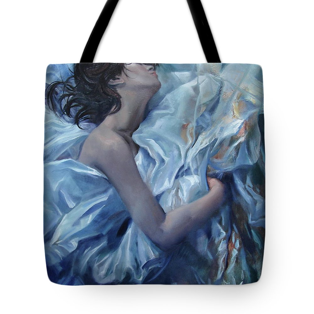 Ignatenko Tote Bag featuring the painting The waiting for the spring by Sergey Ignatenko
