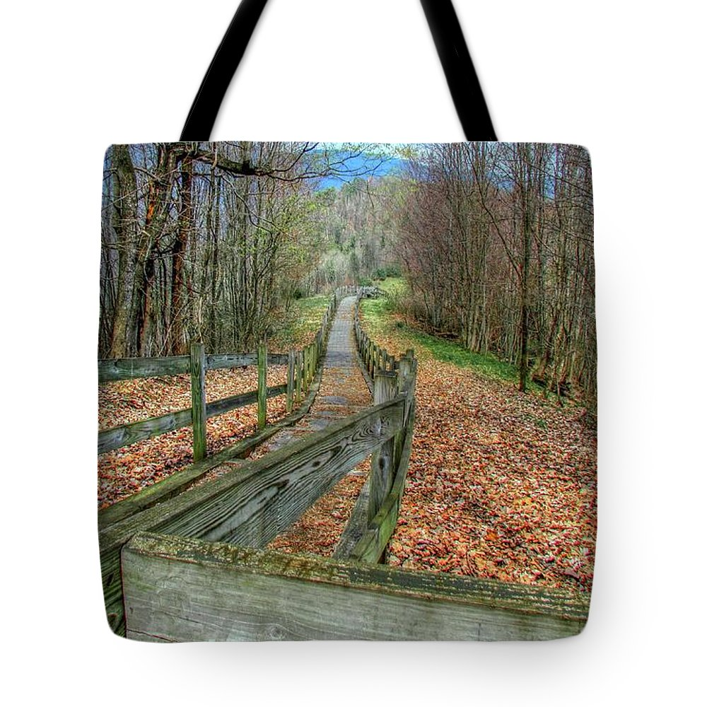 Nature Trail Autumn Woods Landscape Hike Rustic Tote Bag featuring the photograph The Walk In The Woods by Judy Baird