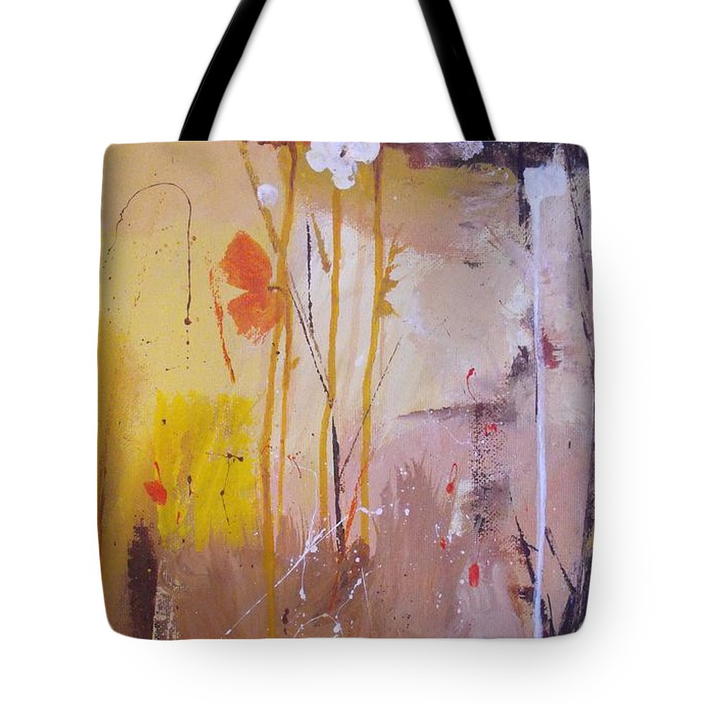 Abstract Tote Bag featuring the painting The Wallflowers by Ruth Palmer