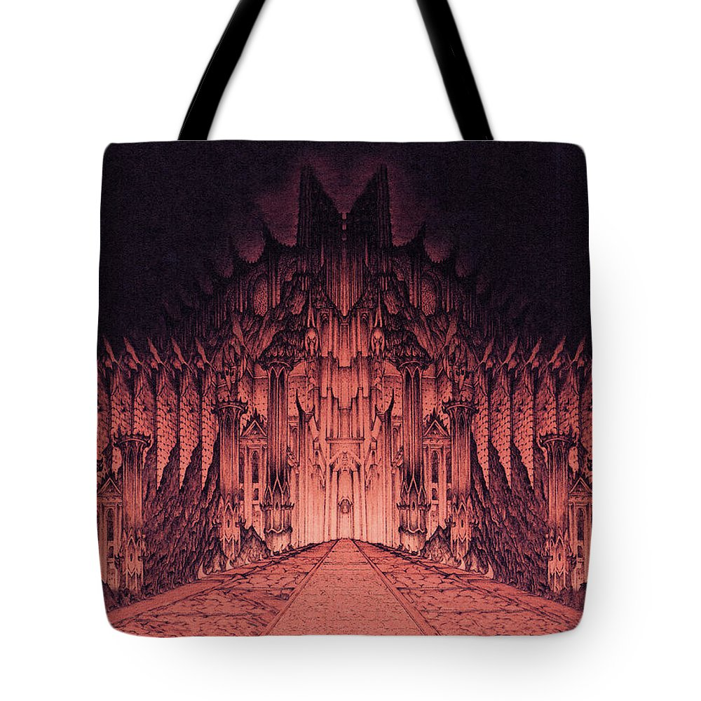 Barad Dur Tote Bag featuring the drawing The Walls Of Barad Dur by Curtiss Shaffer