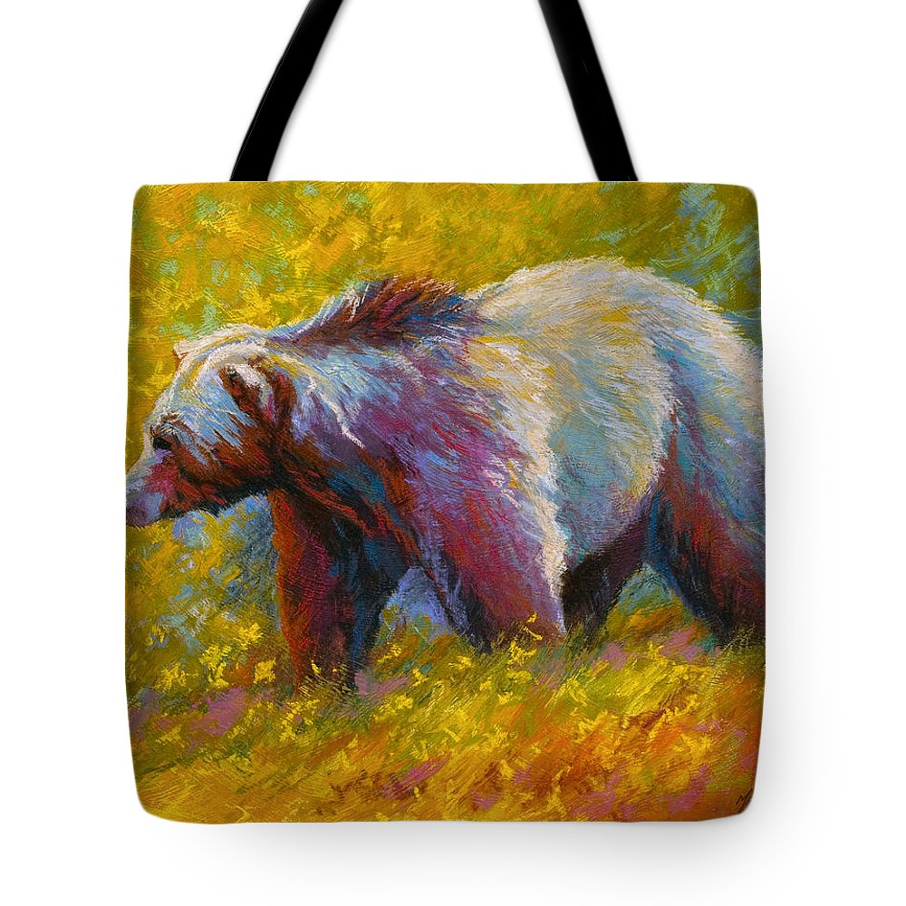 Western Tote Bag featuring the painting The Wandering One - Grizzly Bear by Marion Rose