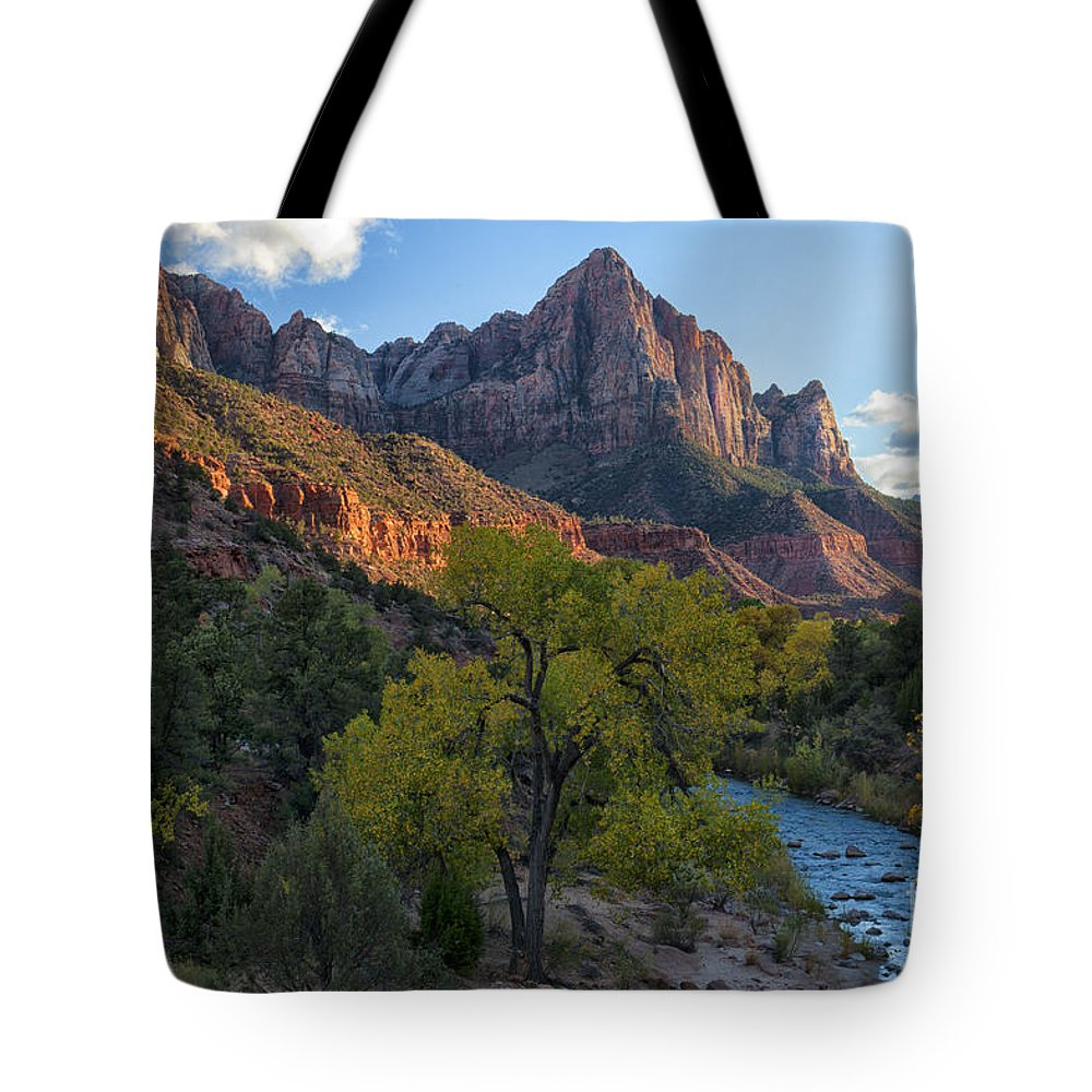 Hdr Tote Bag featuring the photograph The Watchman And Virgin River by Sandra Bronstein