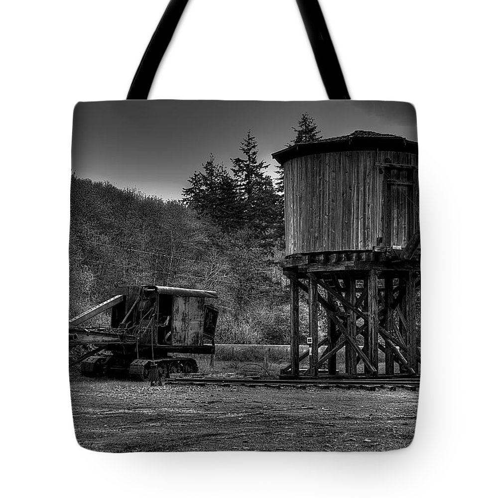 Black And White Tote Bag featuring the photograph The Water Tower by David Patterson
