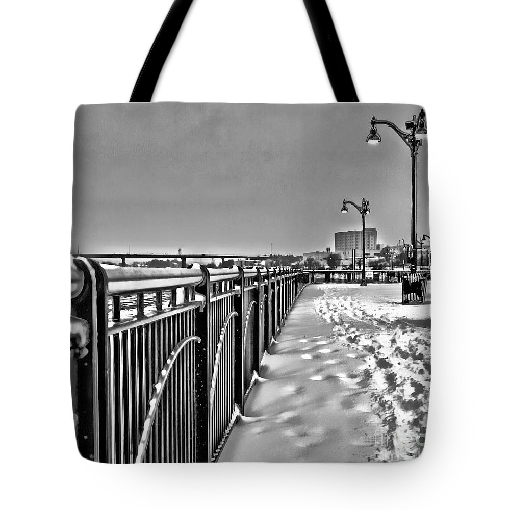 Bangor Tote Bag featuring the photograph The Waterfront by Laura Mace Rand