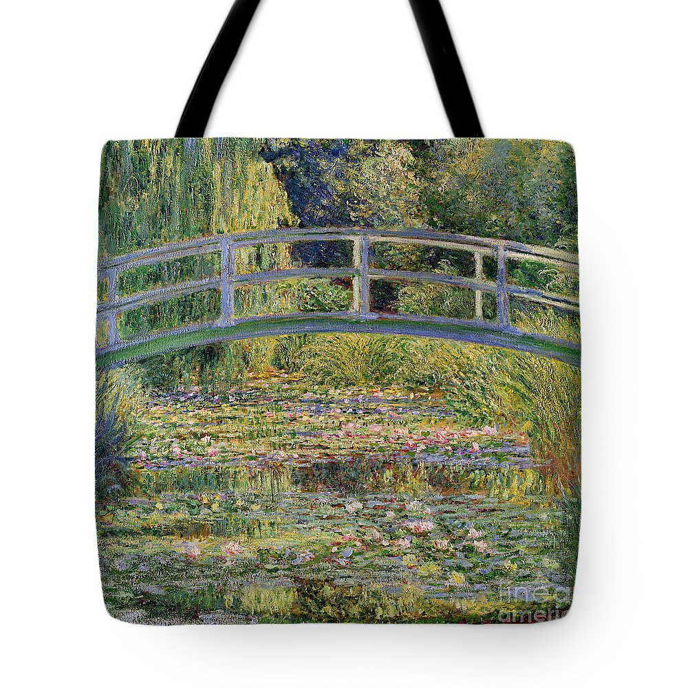 The Tote Bag featuring the painting The Waterlily Pond with the Japanese Bridge by Claude Monet