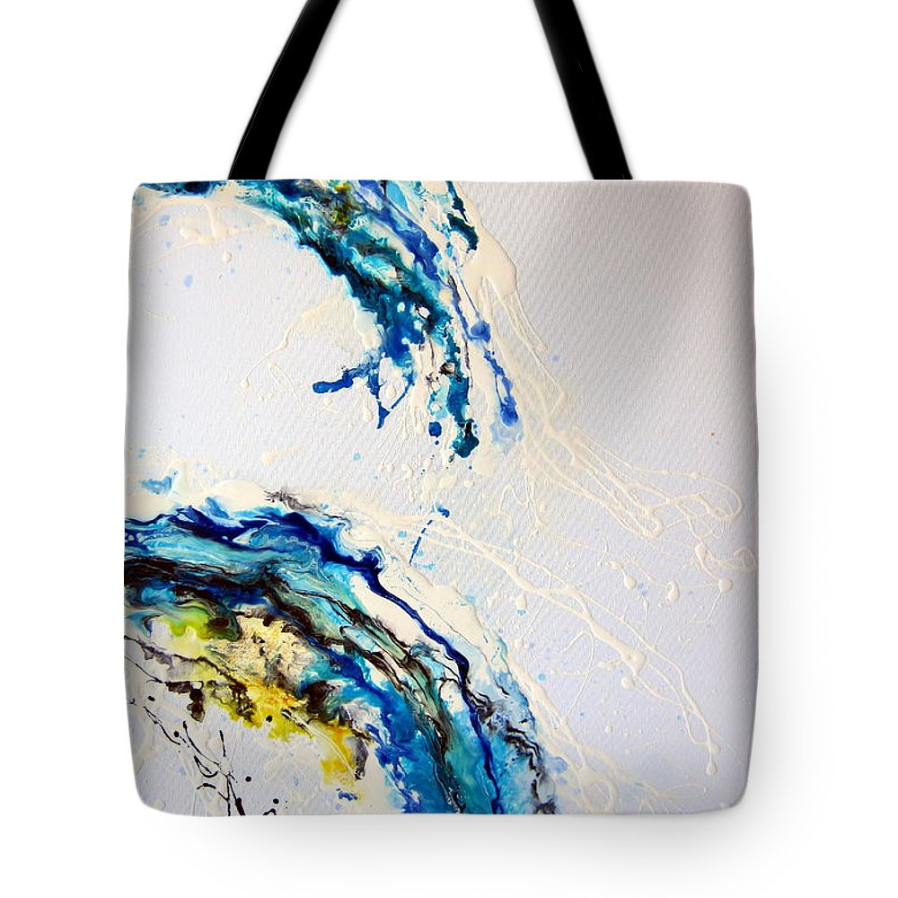 Abstract Tote Bag featuring the painting The Wave 3 by Roberto Gagliardi