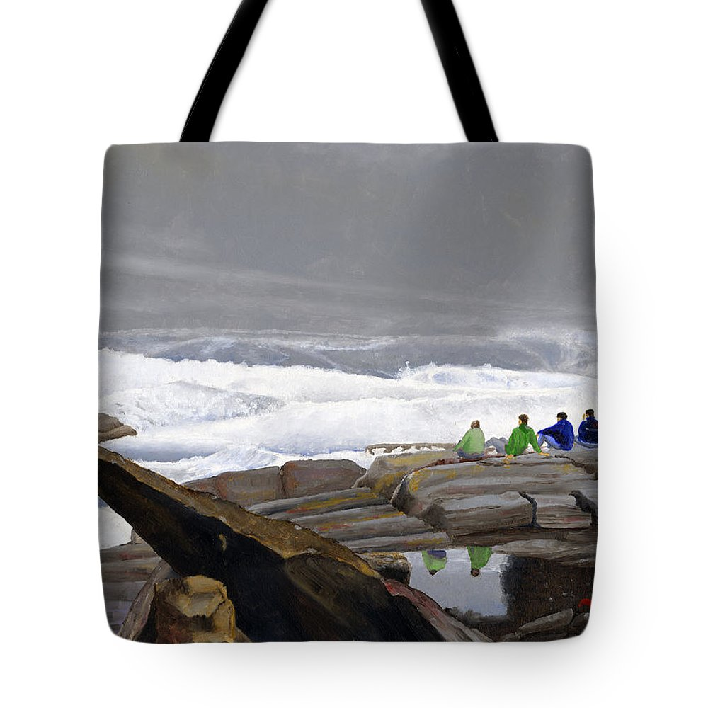 Waves Tote Bag featuring the painting The Wave Watchers by Dominic White