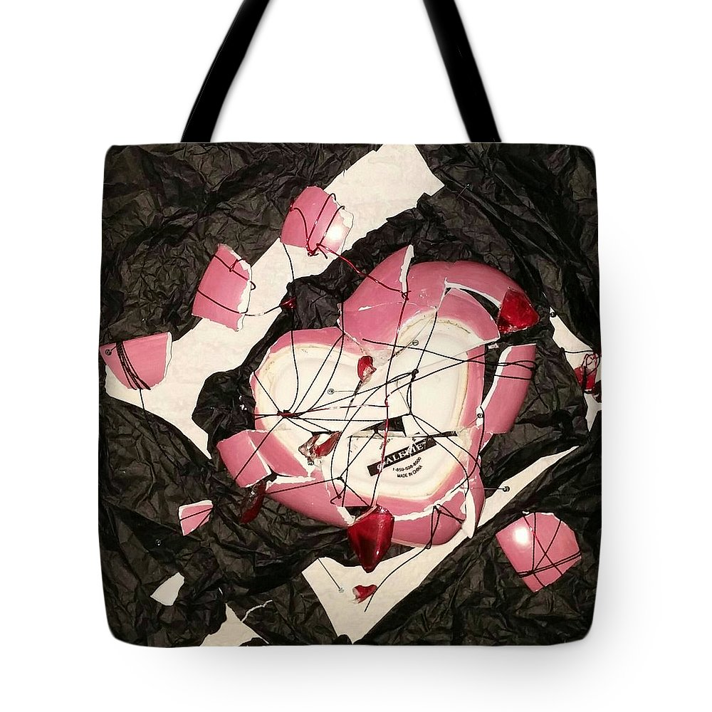 Assemblage Tote Bag featuring the drawing The Way It All Broke Apart by Martha Wherry