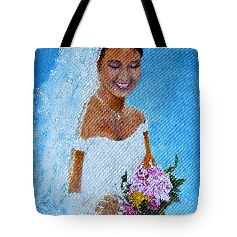 Wedding Tote Bag featuring the painting the wedding day of my daughter Daniela by Helmut Rottler