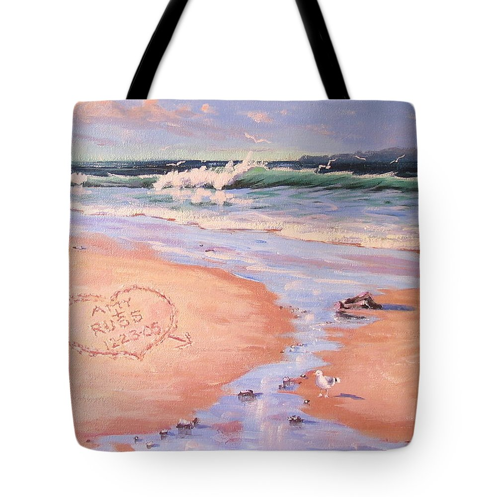 Seascape Tote Bag featuring the painting The Wedding Gift by Laura Lee Zanghetti