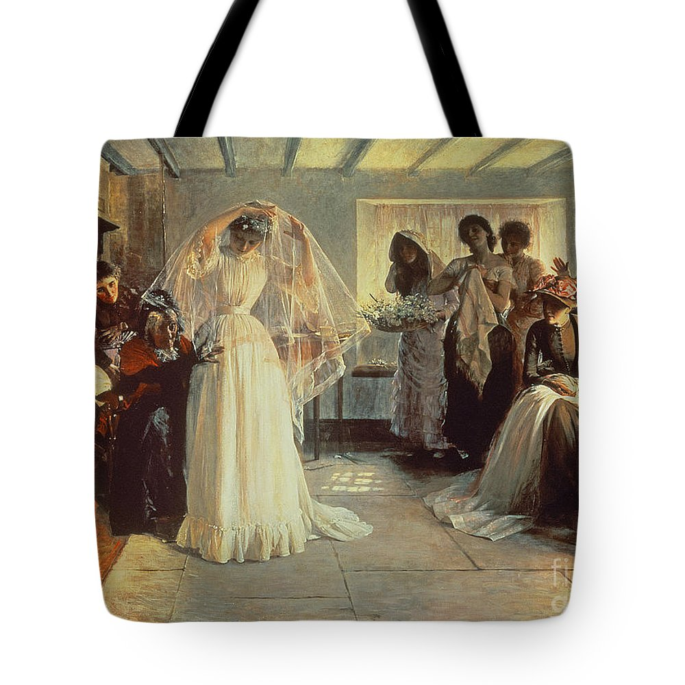 Wedding Morning Tote Bag featuring the painting The Wedding Morning by John Henry Frederick Bacon