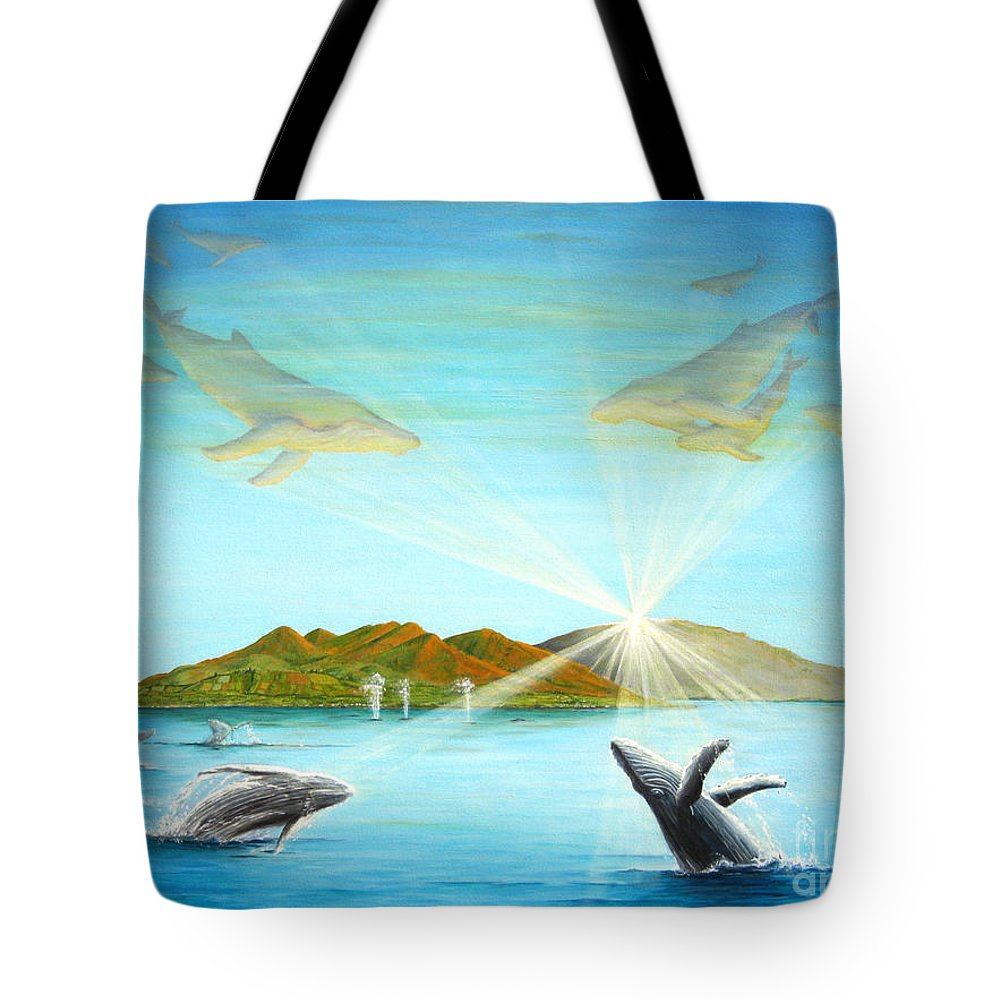 Whales Tote Bag featuring the painting The Whales Of Maui by Jerome Stumphauzer