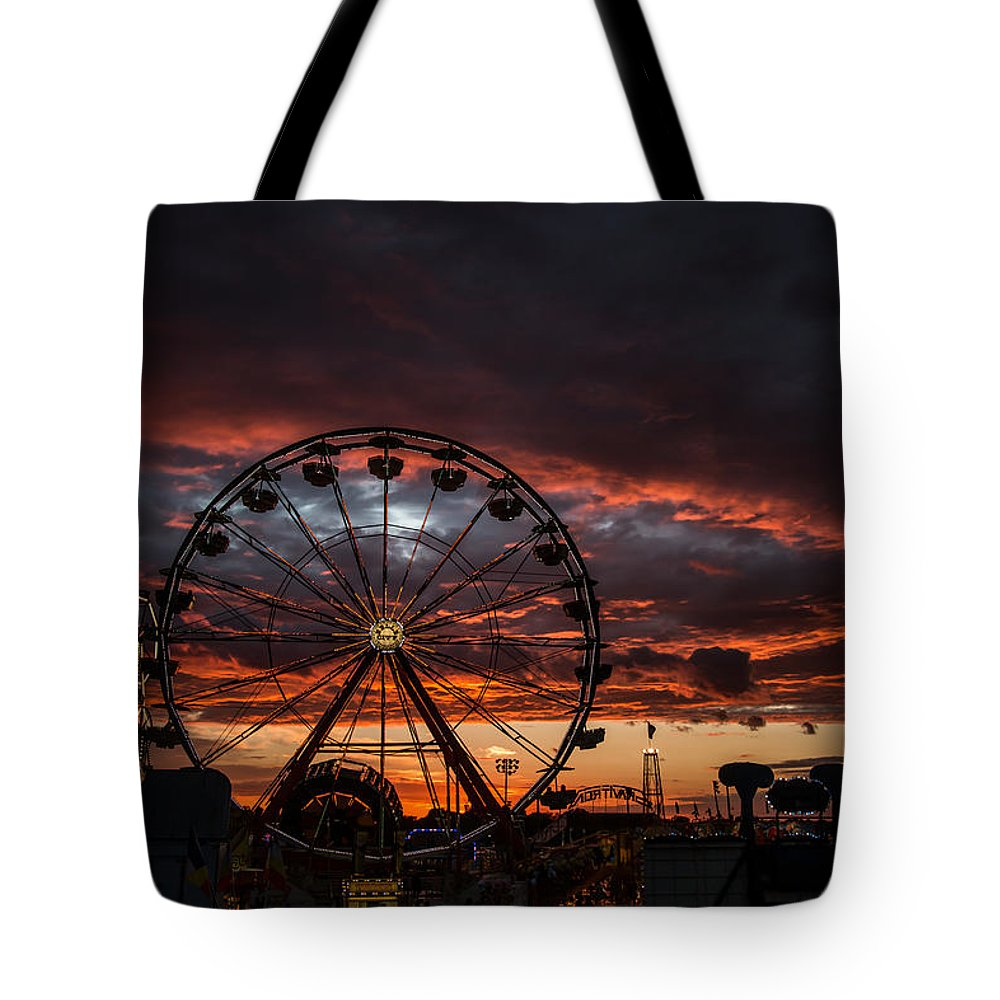 Iowa State Fair Tote Bag featuring the photograph The Wheel - Portrait by Brian Abeling