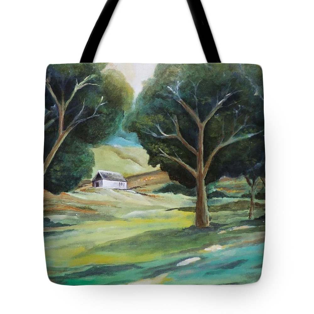 Farm Tote Bag featuring the painting The White Barn by Jun Jamosmos