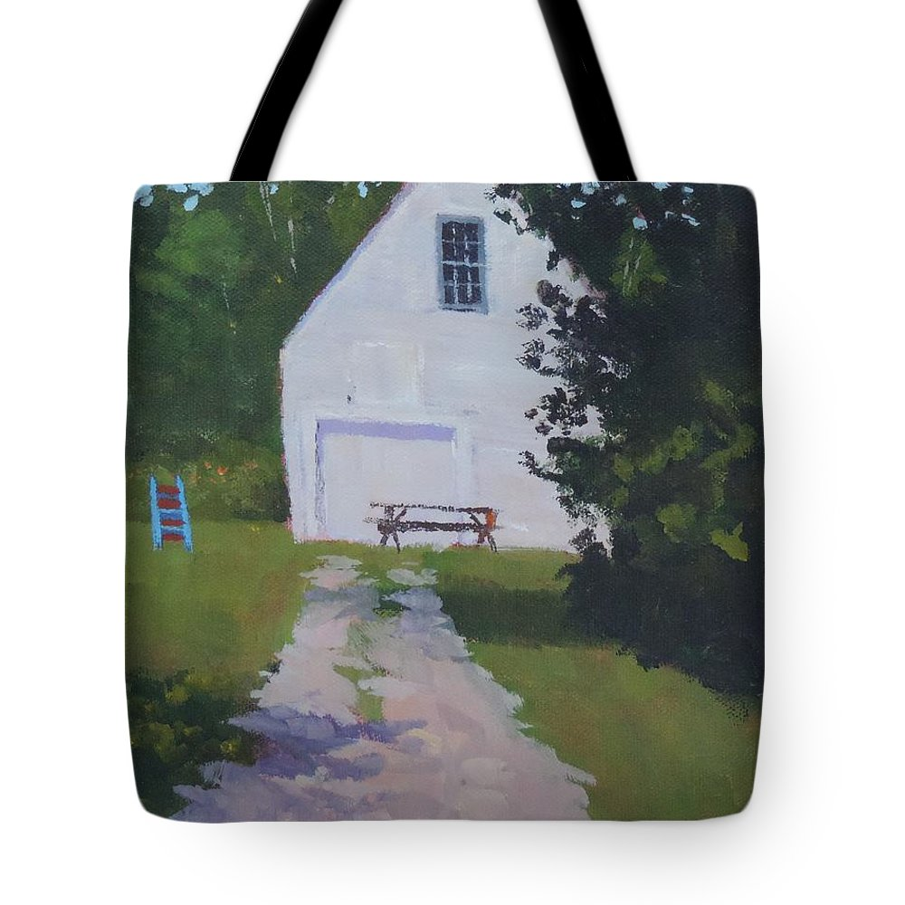 Dirt Tote Bag featuring the photograph The White Garage - Art By Bill Tomsa by Bill Tomsa