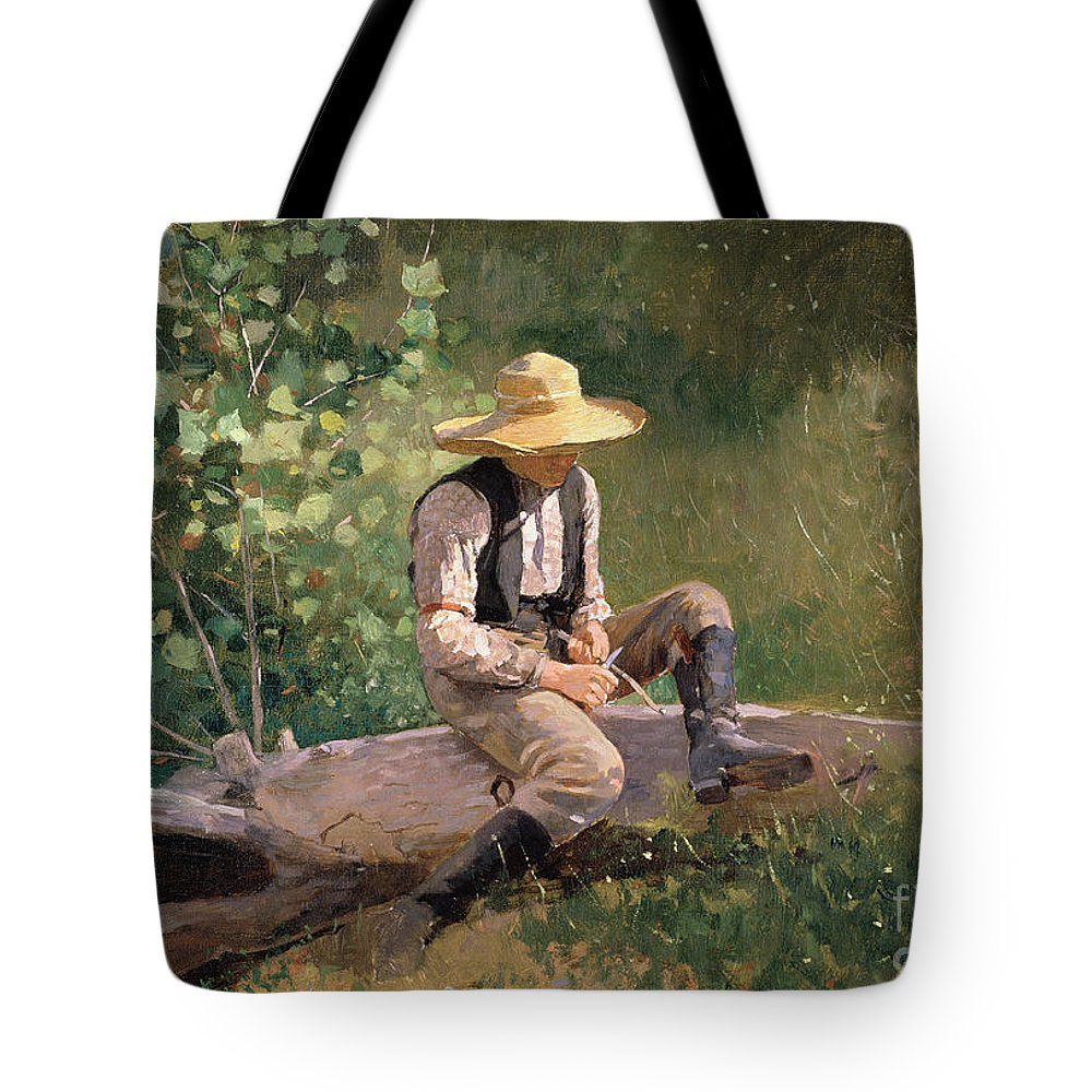 The Whittling Boy Tote Bag featuring the painting The Whittling Boy by Winslow Homer
