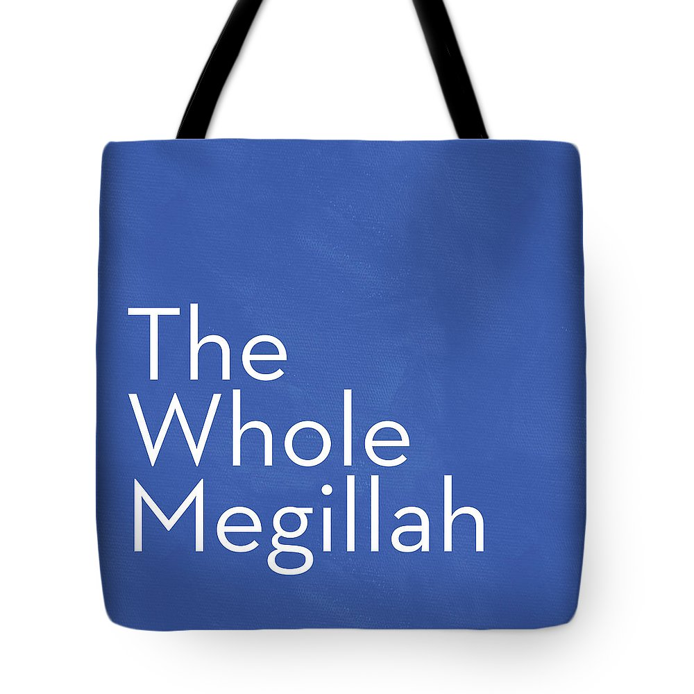 The Whole Megilla Tote Bag featuring the mixed media The Whole Megillah- Art By Linda Woods by Linda Woods