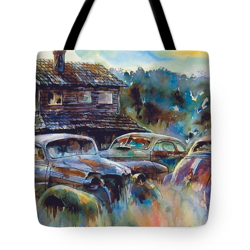 Old Rusty Dilapidated Cars House Tote Bag featuring the painting The Wide Spread by Ron Morrison