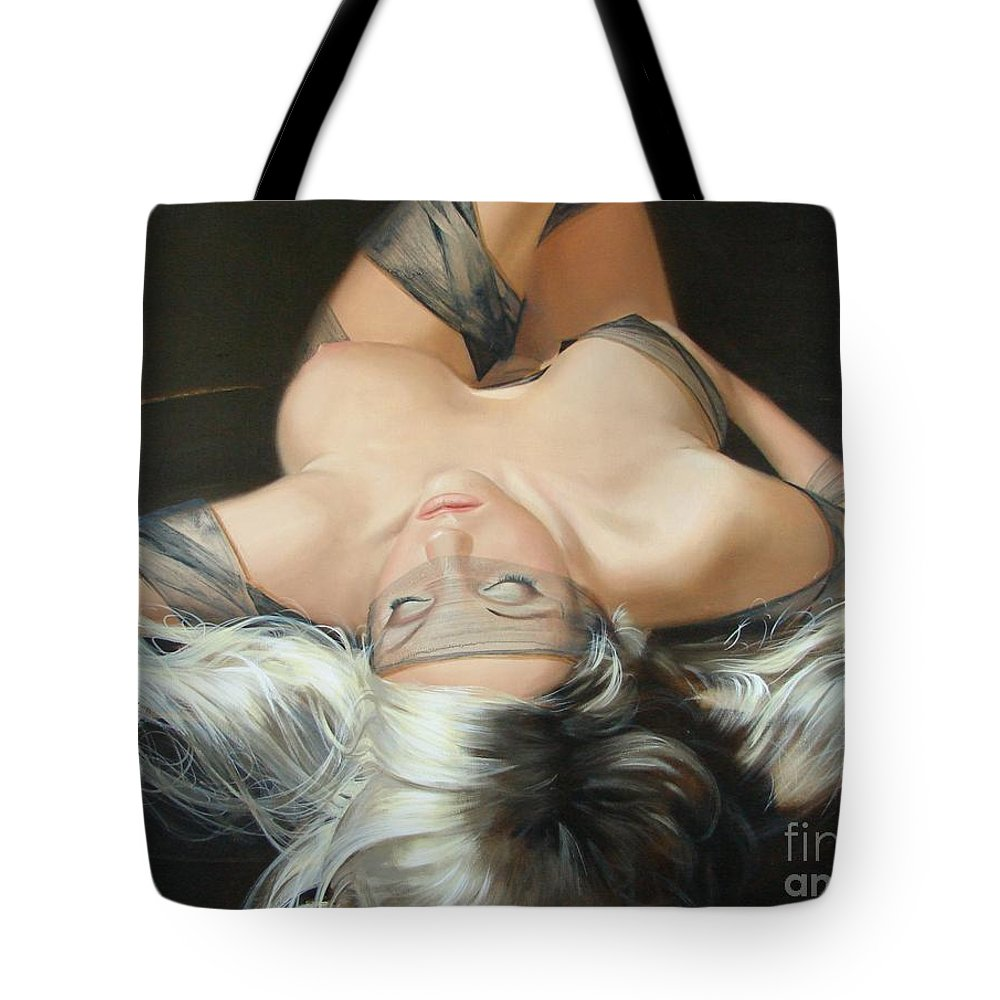 Art Tote Bag featuring the painting The Widow by Sergey Ignatenko