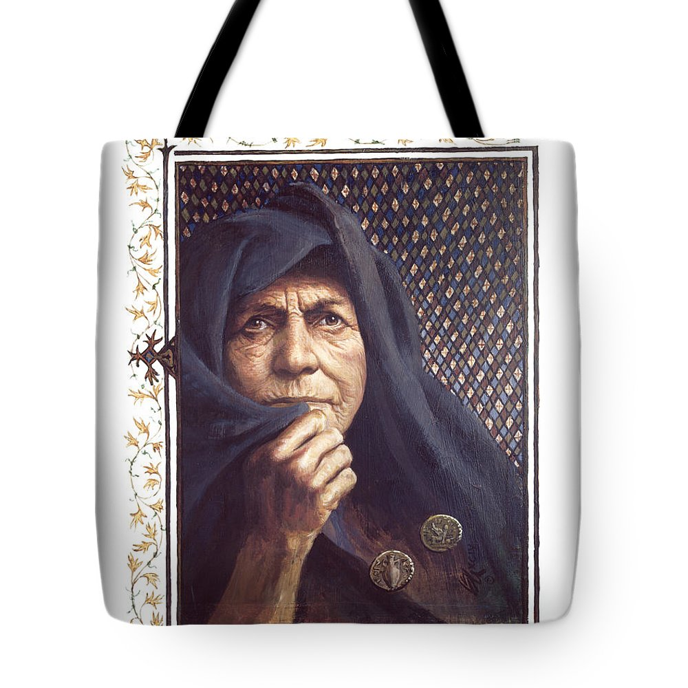 The Widow's Mite Tote Bag featuring the painting The Widow's Mite - Lgtwm by Louis Glanzman