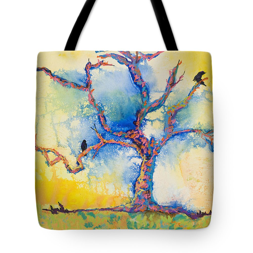 Abstract Painting Tote Bag featuring the mixed media The Wind Riders by Pat Saunders-White