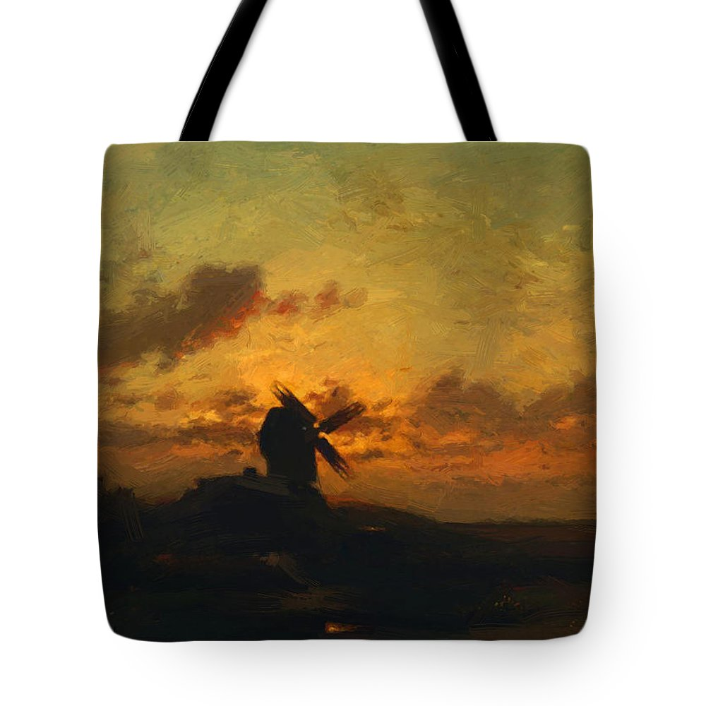 The Tote Bag featuring the painting The Windmill 1859 by Dupre Jules
