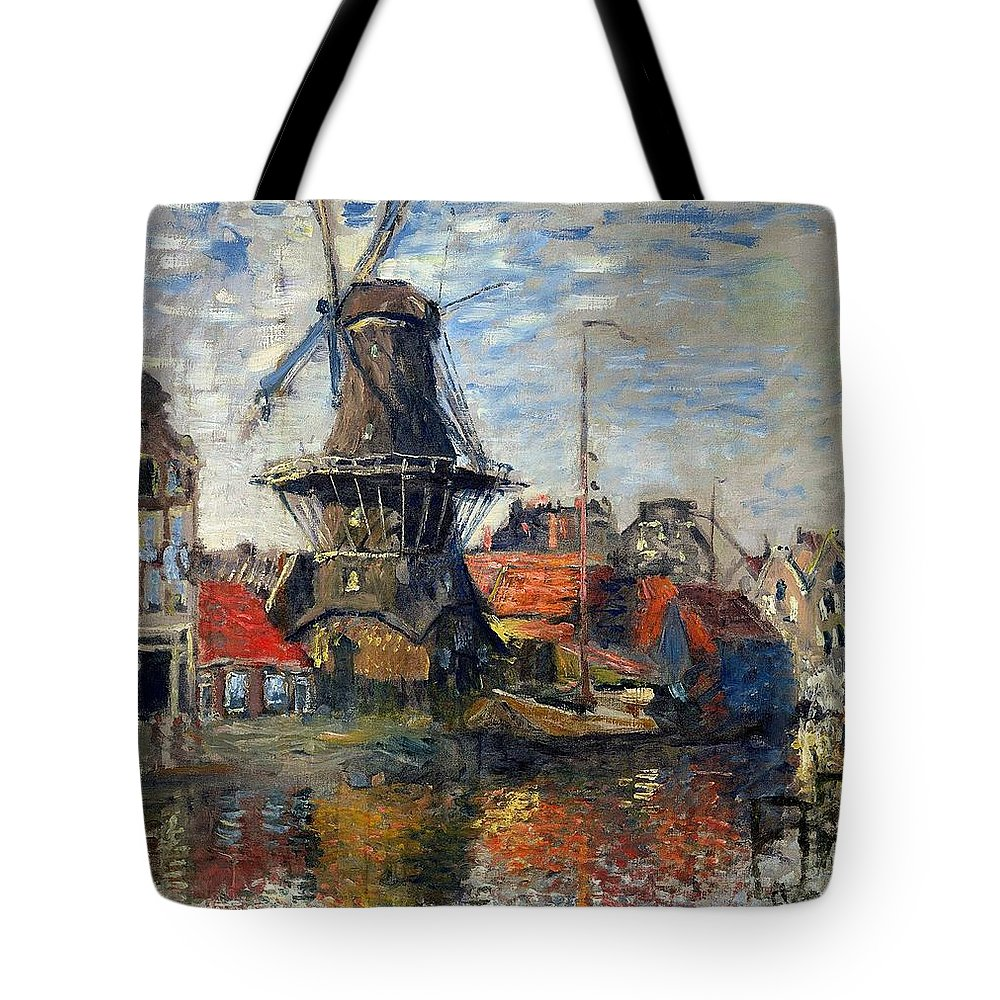 Claude Monet Tote Bag featuring the painting The Windmill Amsterdam Claude Monet 1874 by Movie Poster Prints