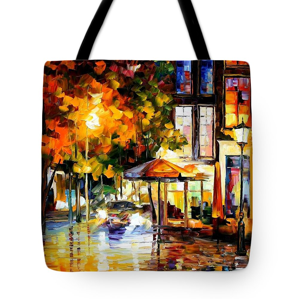 Afremov Tote Bag featuring the painting The Windows Of Amsterdam by Leonid Afremov