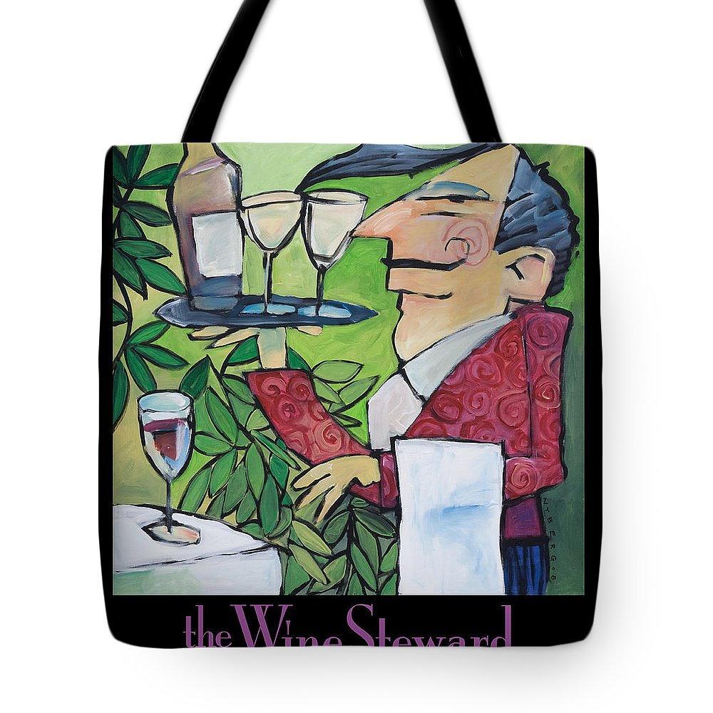 Wine Tote Bag featuring the painting The Wine Steward - Poster by Tim Nyberg