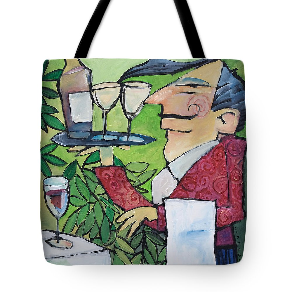 Wine Tote Bag featuring the painting The Wine Steward by Tim Nyberg