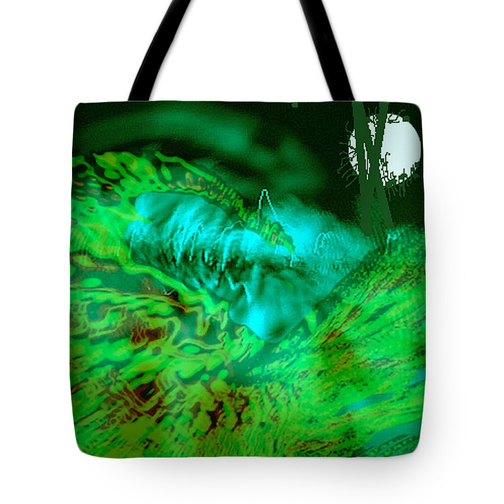Compullage� Tote Bag featuring the digital art The Winged Terror Of Titicaca by Seth Weaver