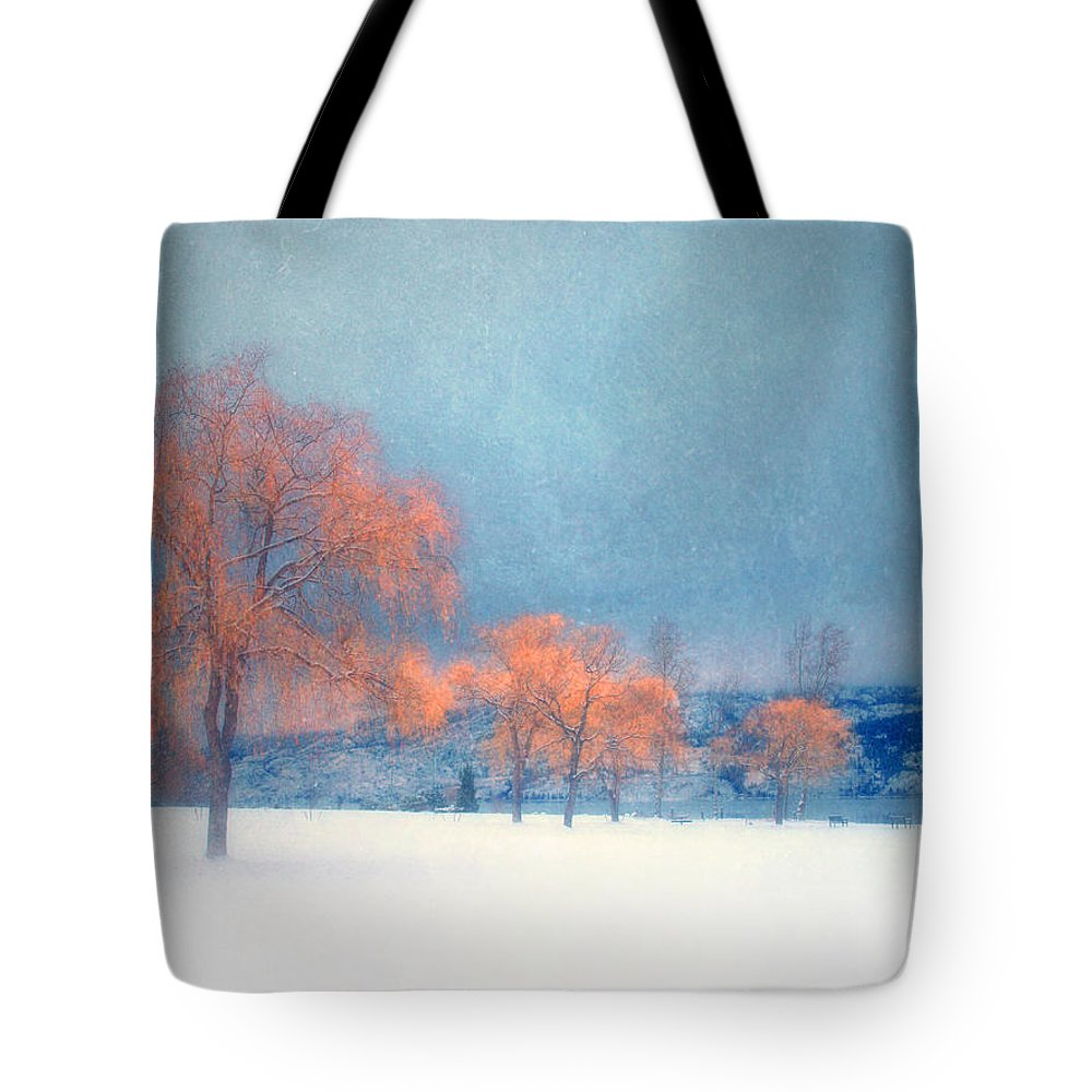 Blue Tote Bag featuring the photograph The Winter Blues by Tara Turner