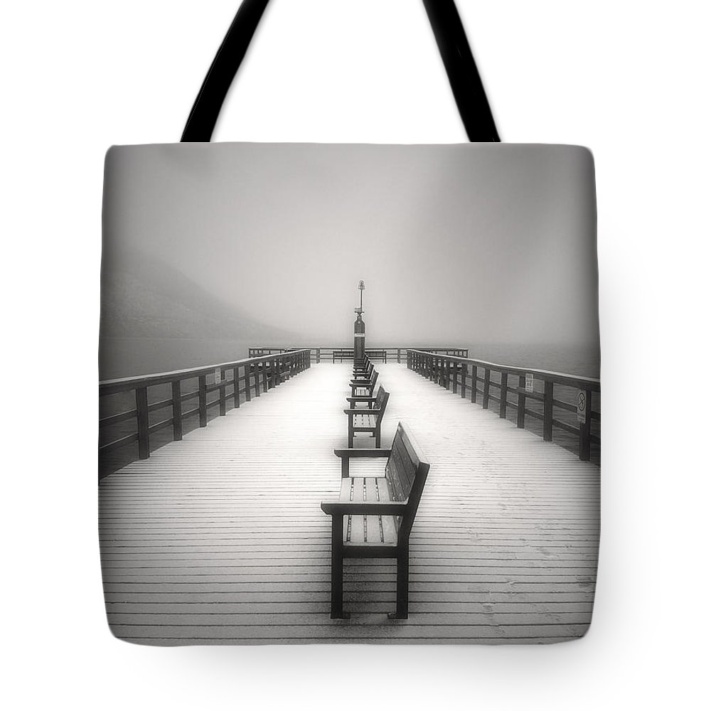 Okanagan Tote Bag featuring the photograph The Winter Pier by Tara Turner
