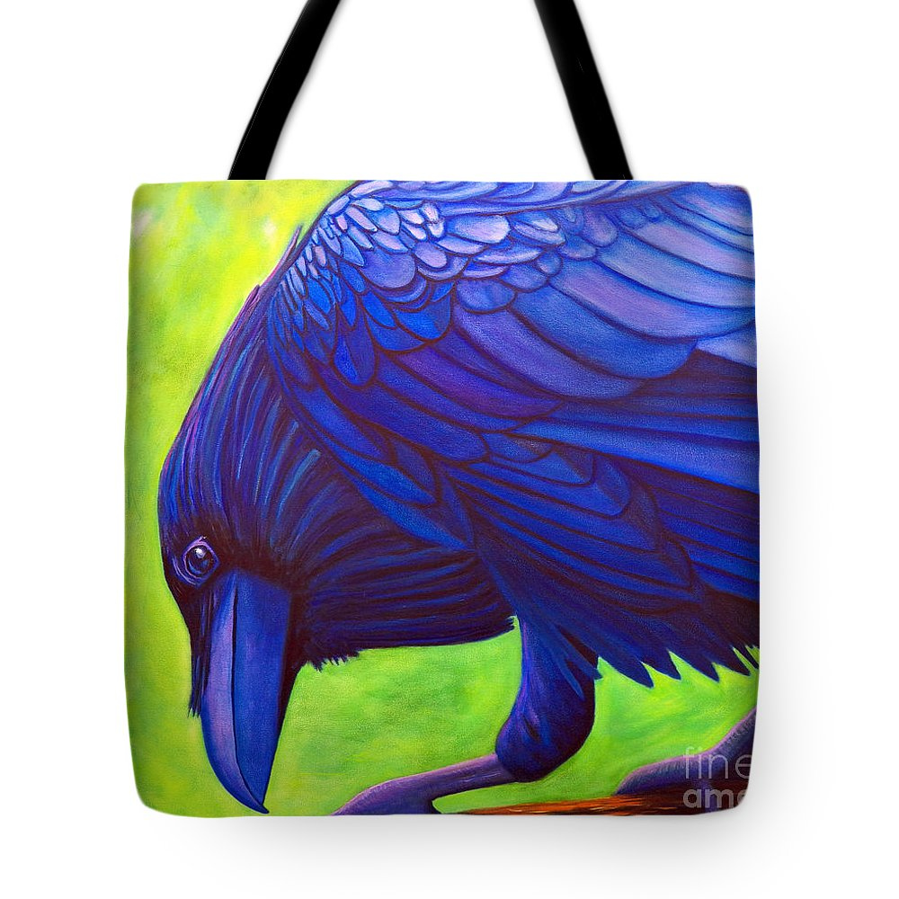Raven Tote Bag featuring the painting The Witness by Brian Commerford