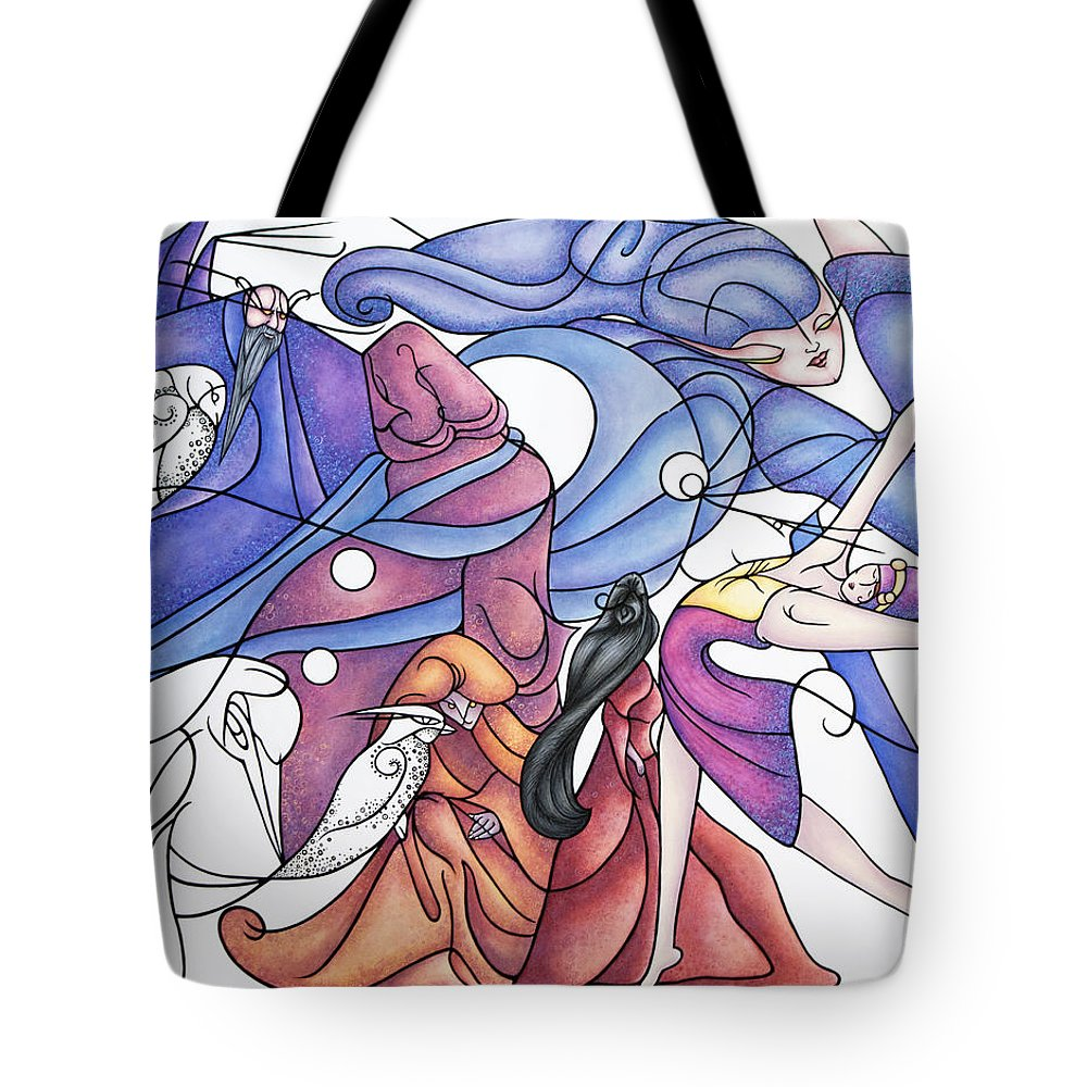 Wizard Tote Bag featuring the painting The Wizards Daughter by Judy Henninger