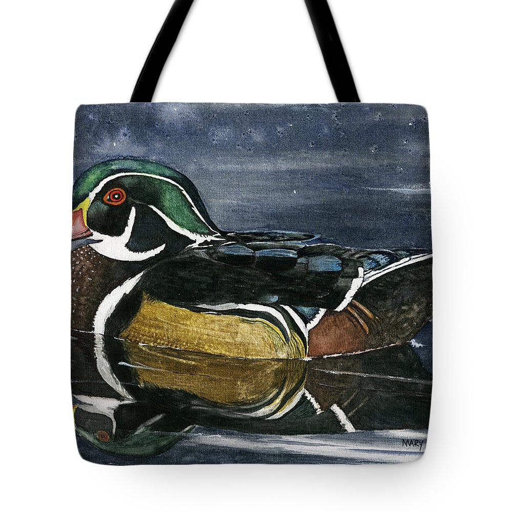 Wood Duck Tote Bag featuring the painting The Wood Duck by Mary Tuomi