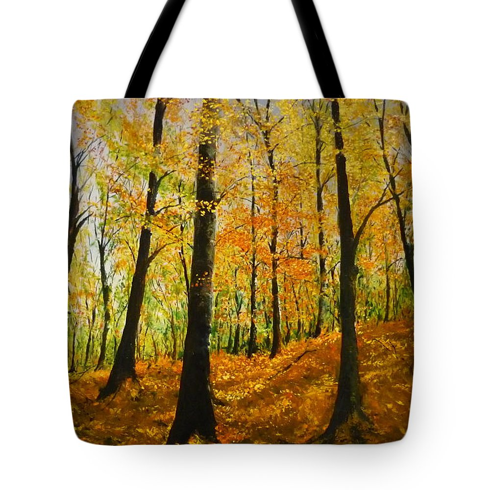 Fall Tote Bag featuring the painting The Wood For The Trees by Lizzy Forrester