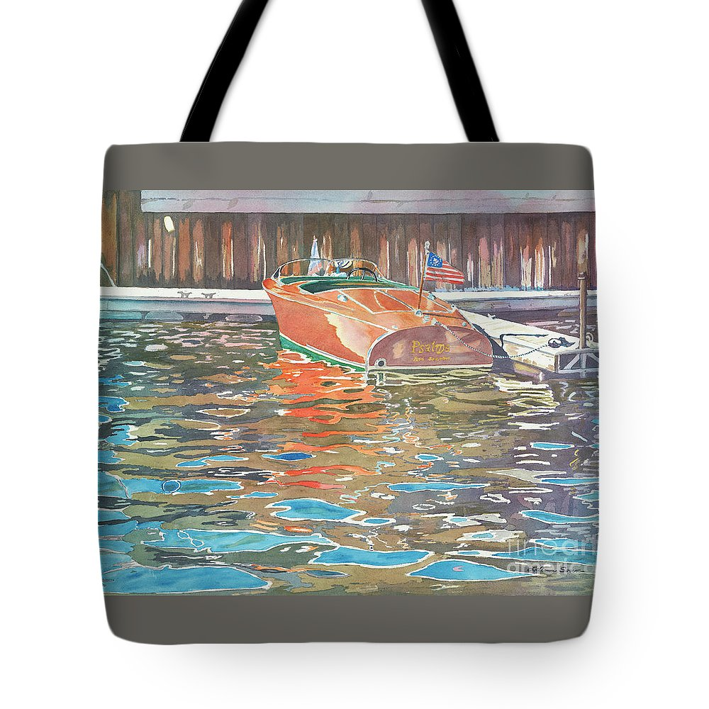 Boats Tote Bag featuring the painting The Wooden Boat by LeAnne Sowa
