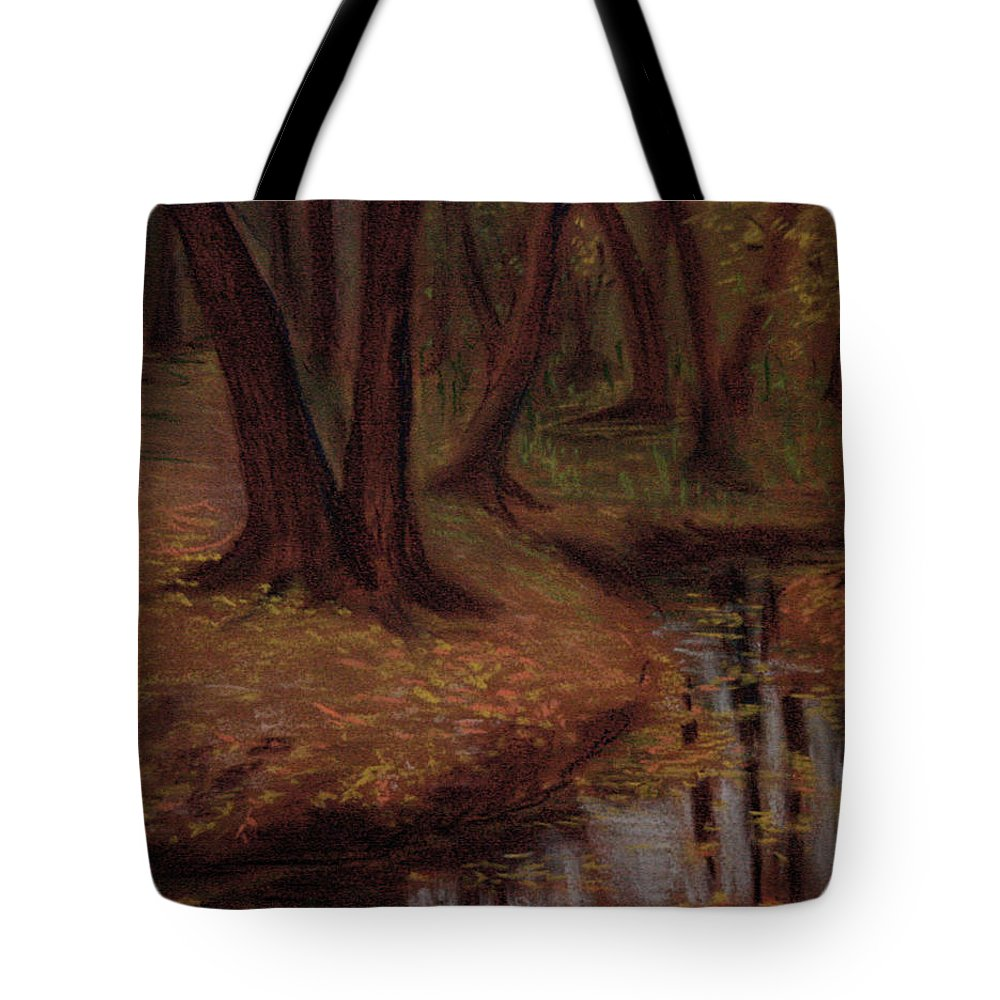 Woods Tote Bag featuring the pastel The Woods Are Deep And Dark by Asha Sudhaker Shenoy