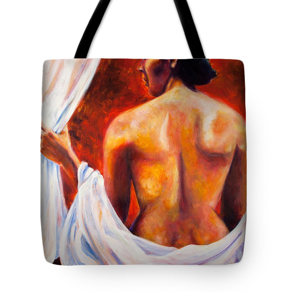 Nude Tote Bag featuring the painting The World At Bay by Jason Reinhardt