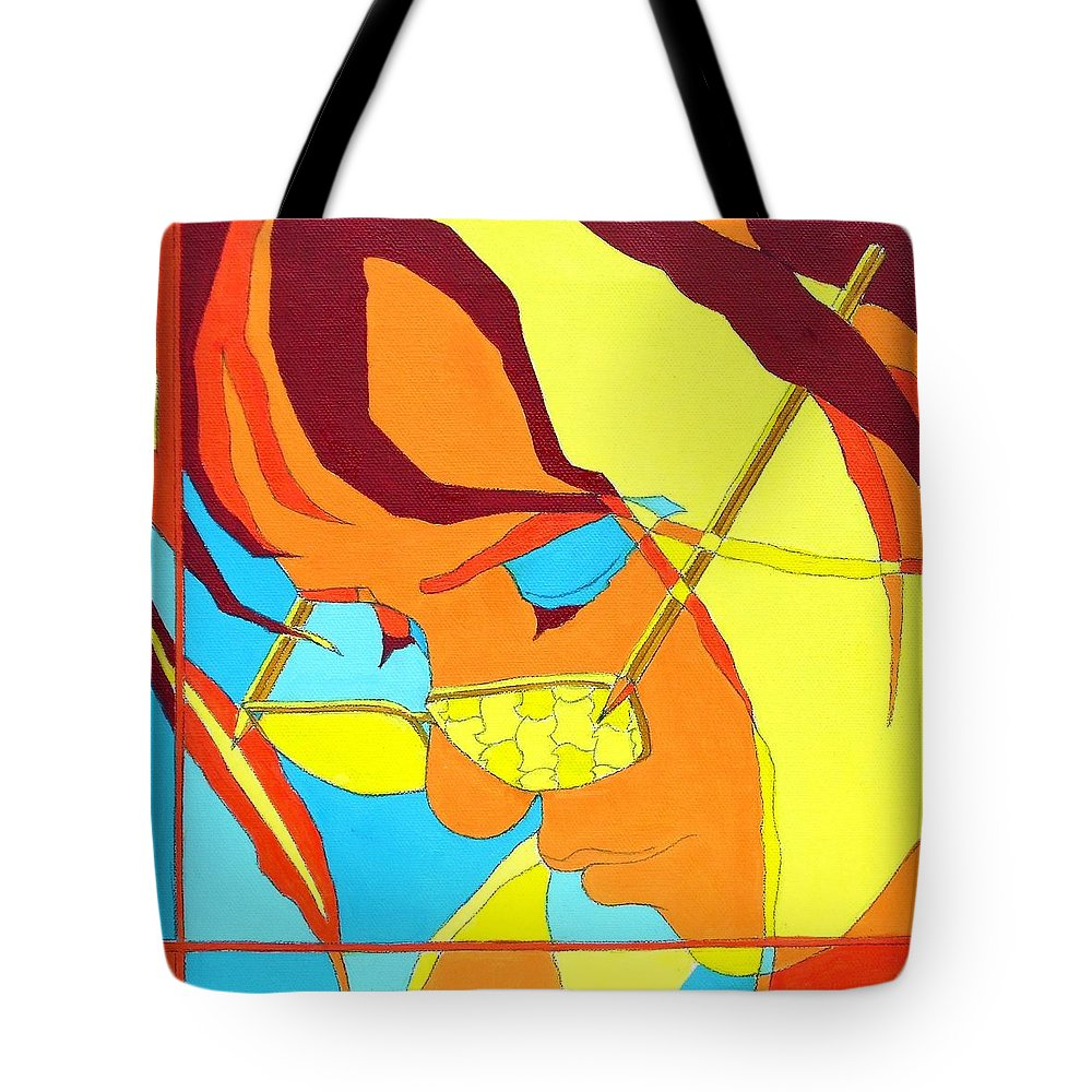 Portrait Tote Bag featuring the painting The World Trough Sonjas Glasses by Casoni Ibolya