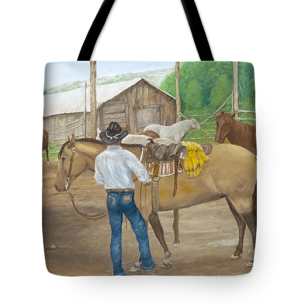 Animals Tote Bag featuring the painting The Wrangler by Sharon Karlson