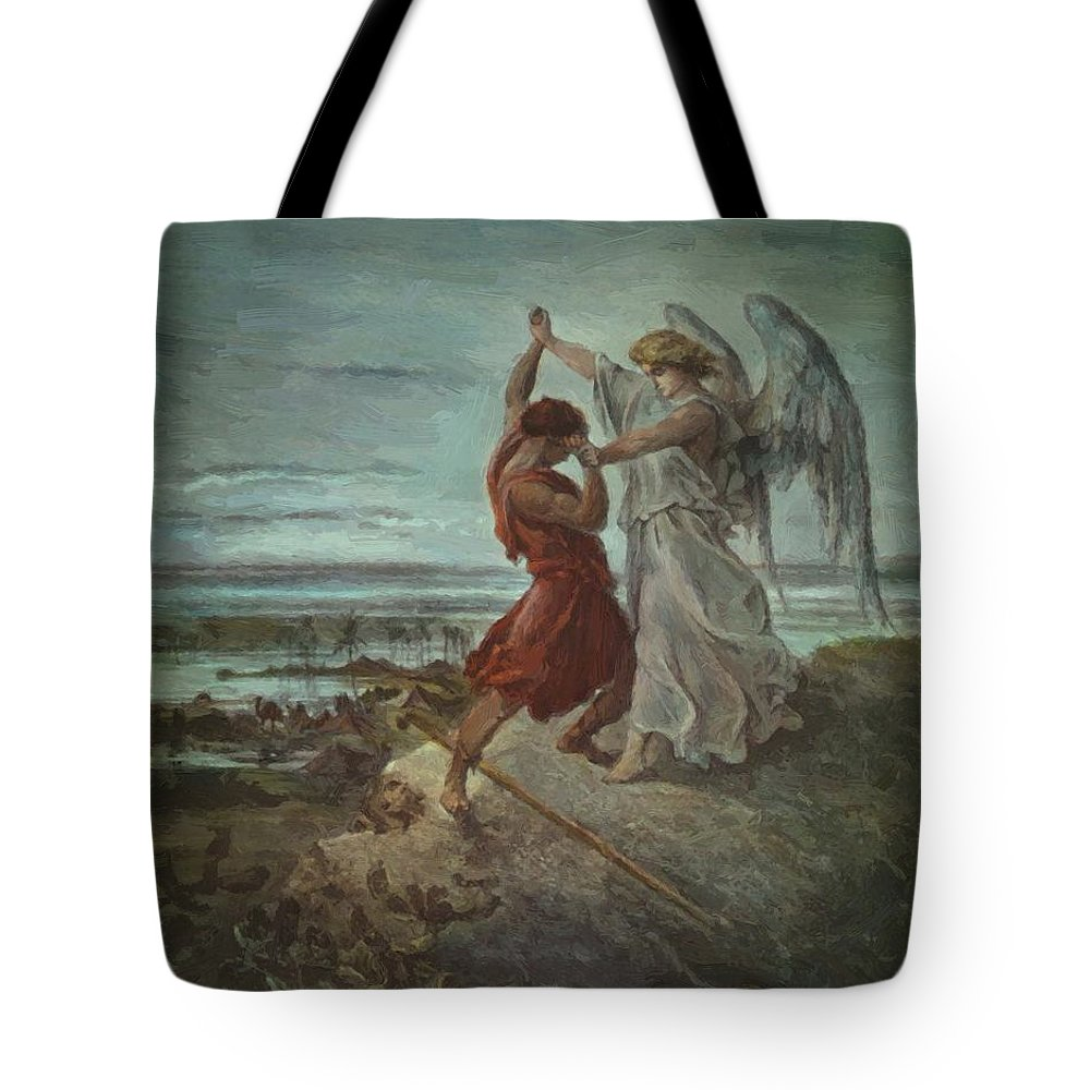 The Tote Bag featuring the painting The Wrestle Of Jacob 1855 by Dore Gustave
