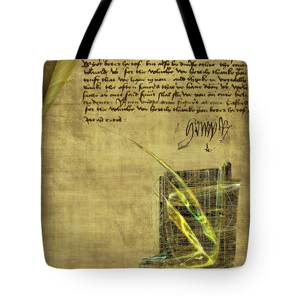 Ink Tote Bag featuring the painting The Writing On The Wall by RC DeWinter