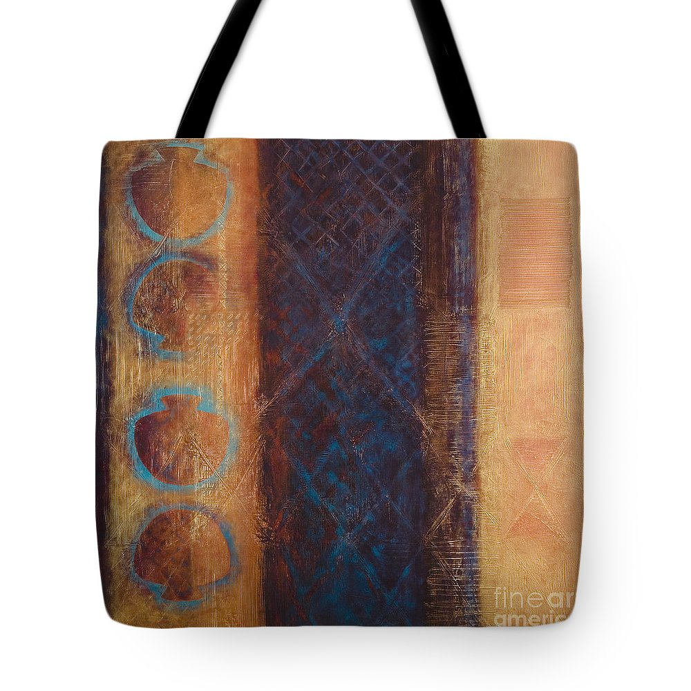 Abstract Tote Bag featuring the painting The X Factor Alchemy Of Consciousness by Kerryn Madsen-Pietsch