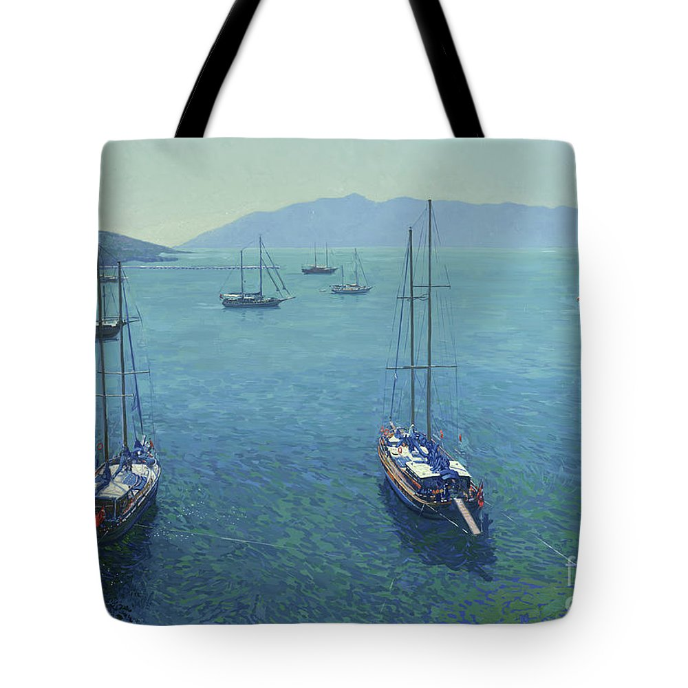 Yachts Tote Bag featuring the painting The Yachts by Simon Kozhin