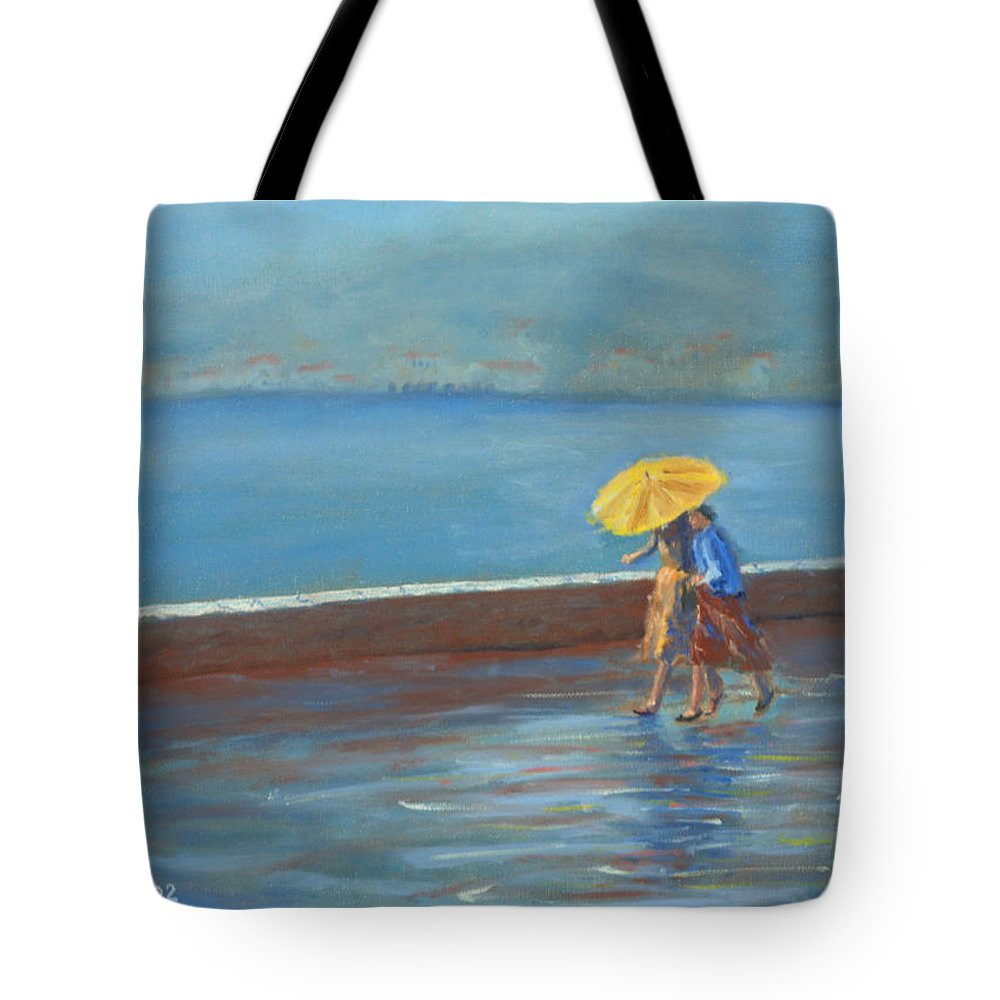 Rain Tote Bag featuring the painting The Yellow Umbrella by Jerry McElroy
