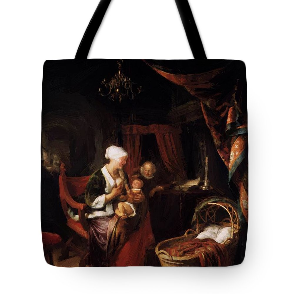 The Tote Bag featuring the painting The Young Mother 1660 by Dou Gerrit