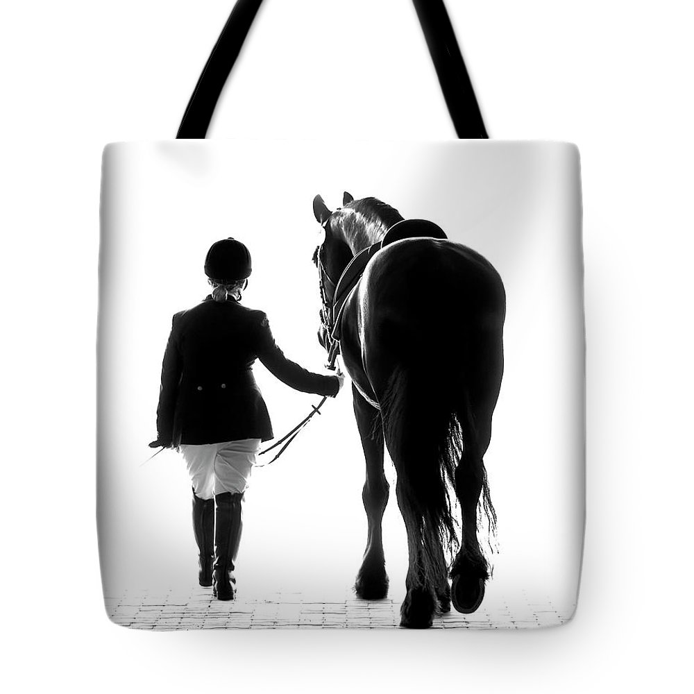 Black And White Horse Tote Bags