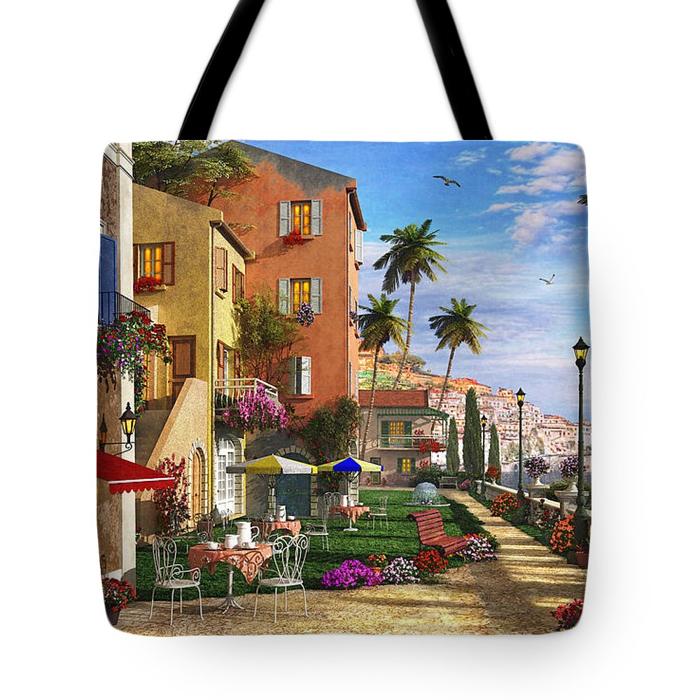 Cottage Tote Bag featuring the digital art Themed Terrace by Dominic Davison